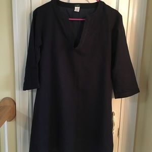 J Crew Factory lined navy blue linen sheath dress